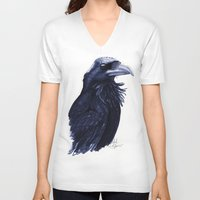 raven V-neck T-shirts featuring .Raven by Isaiah K. Stephens