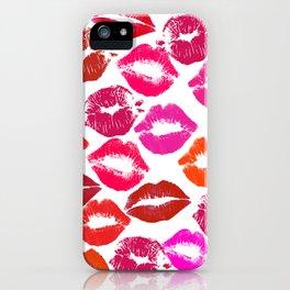 Lipstick Marks Lip Prints Kiss Smooches iPhone Case