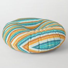 Textured Summer Stripes Pattern in Orange, Rust, Turquoise, Teal, and White Floor Pillow