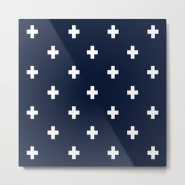 Cross Geometric Modern Navy White Metal Print
