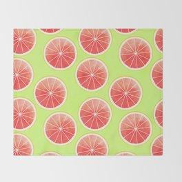Pink Grapefruit Slices Pattern Throw Blanket
