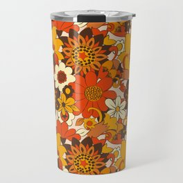 Retro 70s Flower Power, Floral, Orange Brown Yellow Psychedelic Pattern Travel Mug