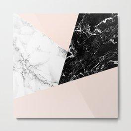 Black white marble blush pink color block Metal Print