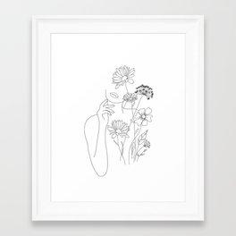 Minimal Line Art Woman with Flowers III Framed Art Print