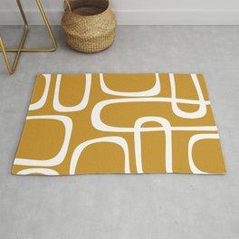 Midcentury Modern Retro Loop Pattern in Mustard Gold and White Rug