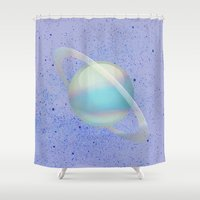 holographic Shower Curtains featuring Holographic Saturn by trendmae