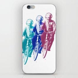 Albert Einstein by bike iPhone Skin