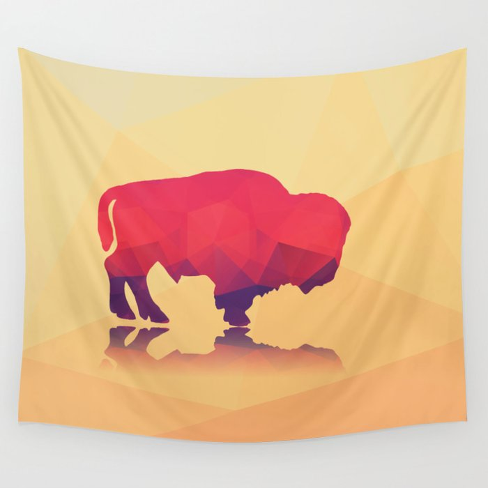 Geometric buffalo Wall Tapestry