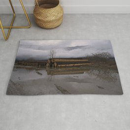 Timber Logs With A Foggy Mountain View Rug