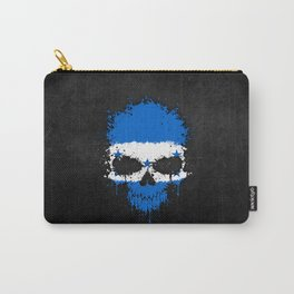 Flag of Honduras on a Chaotic Splatter Skull Carry-All Pouch