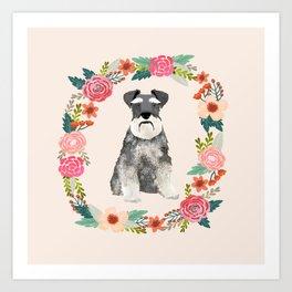 schnauzer floral wreath dog breed pet portrait dog mom Art Print