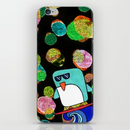 space surfing penguin iPhone Skin