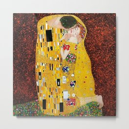 Gustav Klimt - The Kiss gold leaf, silver, and platinum, The Lovers golden period still life Metal Print