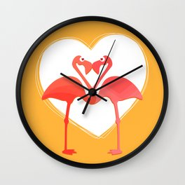 lovebirds - flamingos in love Wall Clock