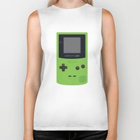 gameboy Biker Tanks featuring GAMEBOY Color - Green by Cedric S Touati