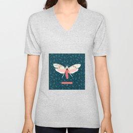 Pink Butterfly Unisex V-Neck