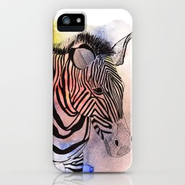 zebra in loose watercolors and ink iPhone Case
