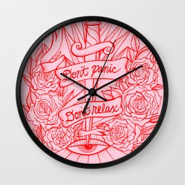 Don't Panic Don't Relax, Resist - Red and Pink Wall Clock
