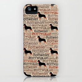 Rottweiler silhouette and word art pattern iPhone Case