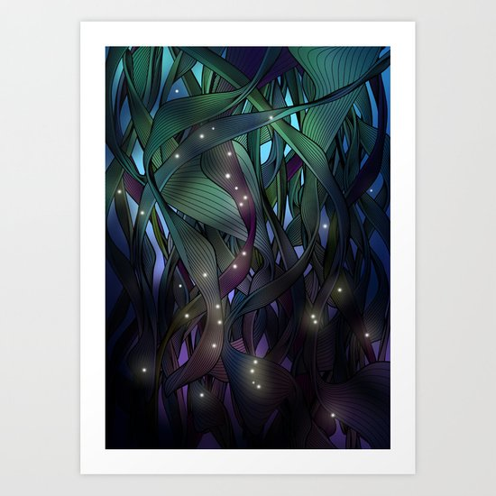 Nocturne with Fireflies Art Print