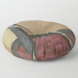 Artist Brush On Abstract Copper Canvas Artwork - Vintage - Modern Art - Painter Floor Pillow