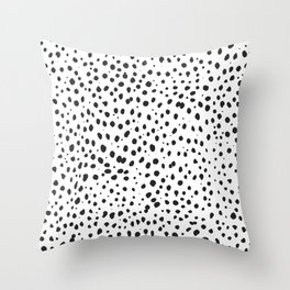 Dalmatian Spots - Black and White Polka Dots Throw Pillow
