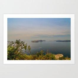 Beautiful landscape with sea view of the Nea Kameni, a small Greek island in the Aegean Sea near San Art Print
