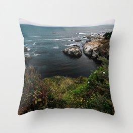 Big Sur Coastal Path Wall Art   California Highway 1 Nature Flowers Ocean Beach Coastal Travel Photography Print Throw Pillow