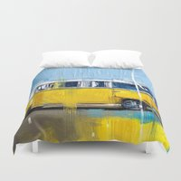 vw Duvet Covers featuring Yellow VW by mystudio69