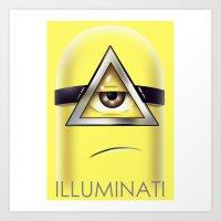 minions Art Prints featuring Minions Illuminati by Vincent Trinidad