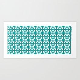 Breeze Block Pattern Bow and Arrow, aqua Art Print