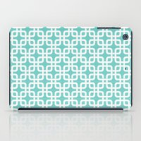 mid century modern iPad Cases featuring Mid-Century Modern Geometric Pattern, rounded corner squares interlocking by Audrey Jeannes