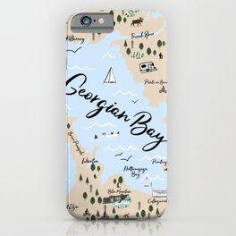 Map of Georgian Bay and Lake Huron iPhone Case