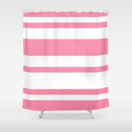 Mixed Horizontal Stripes - White and Flamingo Pink Shower Curtain