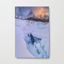 Sunrise at Stetind mountain in Norway in winter Metal Print
