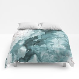 Watercolor meets Glitter - Turquoise Rose Gold - No 2 Comforters