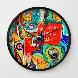 I'm hungry like a wolf Street Art Graffiti Wall Clock