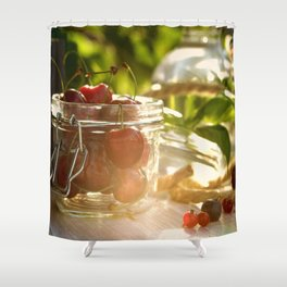 Fresh cherrie in glass Shower Curtain