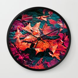 Colorfull Autumn water leaves Wall Clock