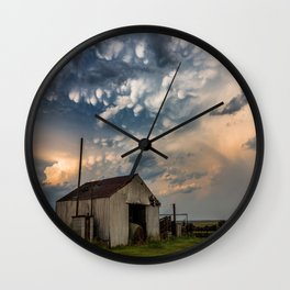 August Eve - Storm Sky Over Old Barn in Oklahoma Wall Clock