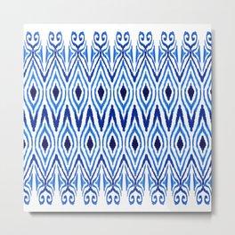 Ikat Blue Metal Print
