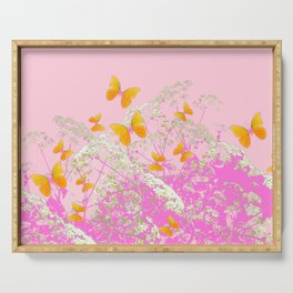 GOLDEN BUTTERFLIES IN PINK LACE GARDEN Serving Tray