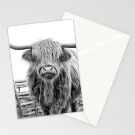 Highland Cow in a Fence Black and White Stationery Cards