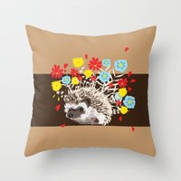 hedgehog Throw Pillows featuring hedgehog by Caracheng