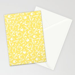 Figurative Pattern in Yellow and White Stationery Cards