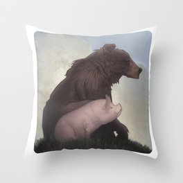 Bear and Pig Throw Pillow