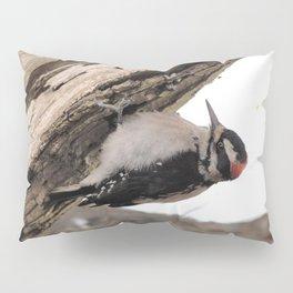 Hairy Woodpecker Deconstructing a Tree Pillow Sham