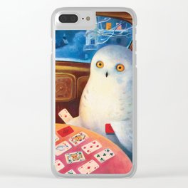 Snow Owl In The Old Car Clear iPhone Case
