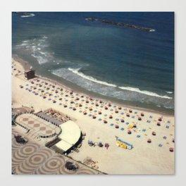 Tel-Aviv beach at summer, high from above, Israel, scaned sx-70 Polaroid Canvas Print
