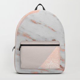 Blush pink layers of rose gold and marble Backpack